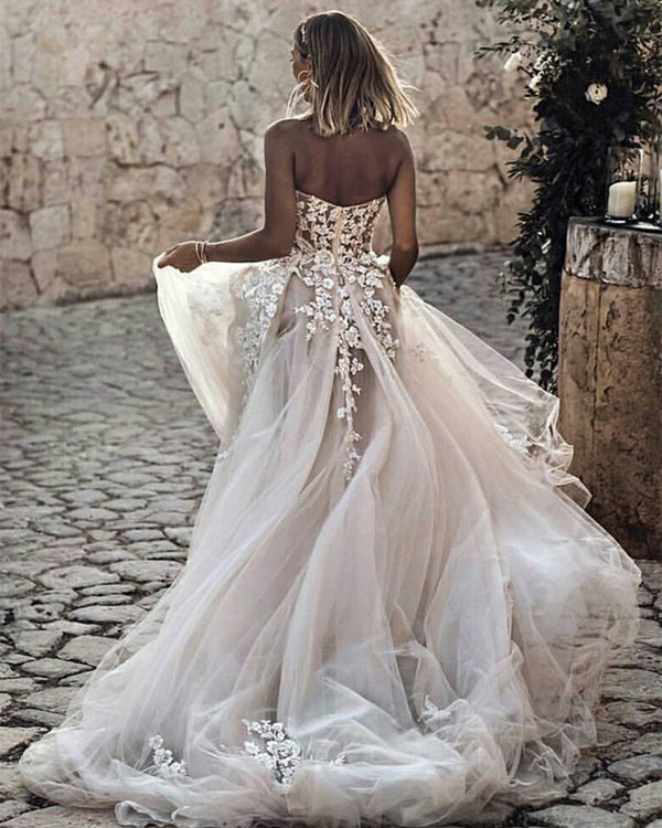 Romantic-Sweetheart-Wedding-Dresses-2019-Boho-Bridal-Gowns