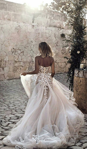 Image of Lace Embroidery Sweetheart See Through Corset Tulle Wedding Dresses 2019