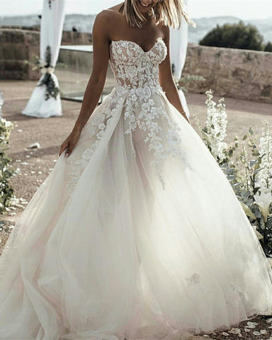 Image of Western-Country-Style-Tulle-Sweetheart-Wedding-Dresses-Lace-Embroidery