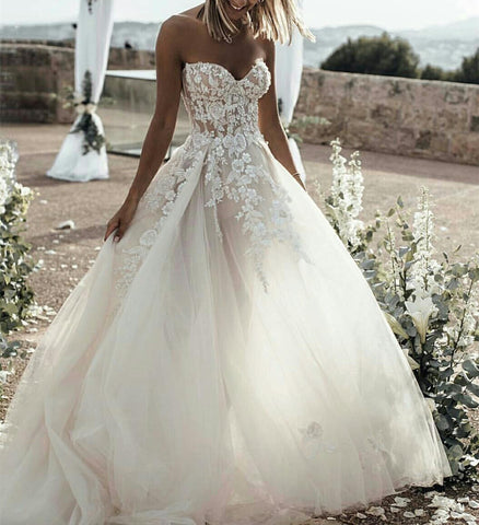 Image of New-Arrivals-2019-Wedding-Dresses-Tulle-Sweetheart-Bridal-Gowns