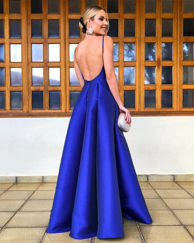 Image of Simple Long Satin Empire Prom Dresses V-neck 2019