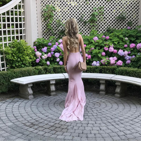 Image of Sexy Backless Long Jersey Mermaid Bridesmaid Dresses For Weddings