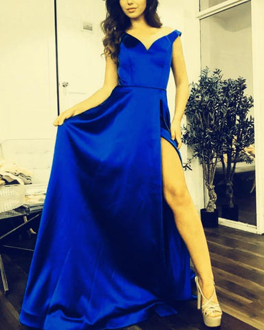 Image of Royal-Blue-Formal-Dresses-Long-Off-Shoulder-Prom-Gowns