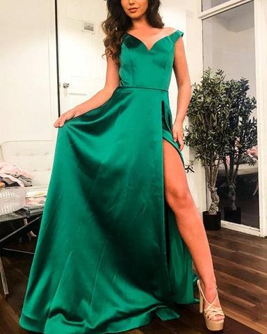 Image of Long Satin V-neck Off Shoulder Prom Dresses 2019 Sexy Leg Slit Evening Gowns