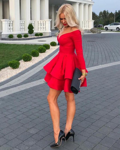 Image of Long Sleeves Homecoming Dresses Ruffles Satin Cocktail Dress