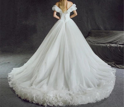 Image of Off Shoulder Tulle Ball Gowns Cinderella Wedding Dresses 2018