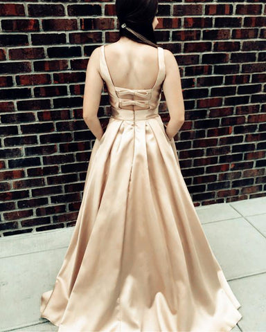 Image of Sexy Deep V-neck Bow Back Long Satin Prom Dresses 2019