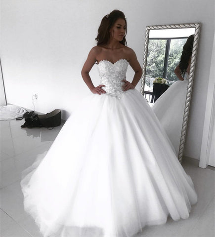 Image of Lace Embroidery Sweetheart Floor Length Ball Gown Wedding Dresses