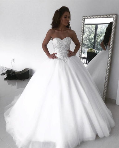 Image of Sweetheart-Wedding-Dresses-Ball-Gowns-Lace-Embroidery