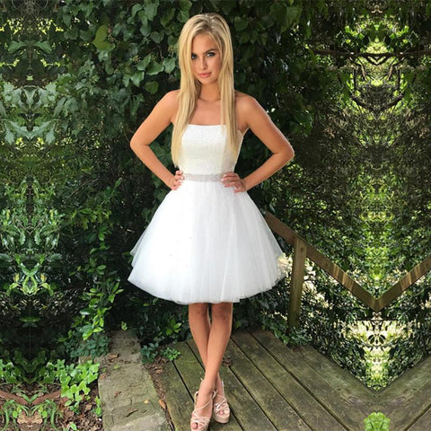 Image of White Satin Sleeveless Homecoming Dresses Short Prom Gowns 2018