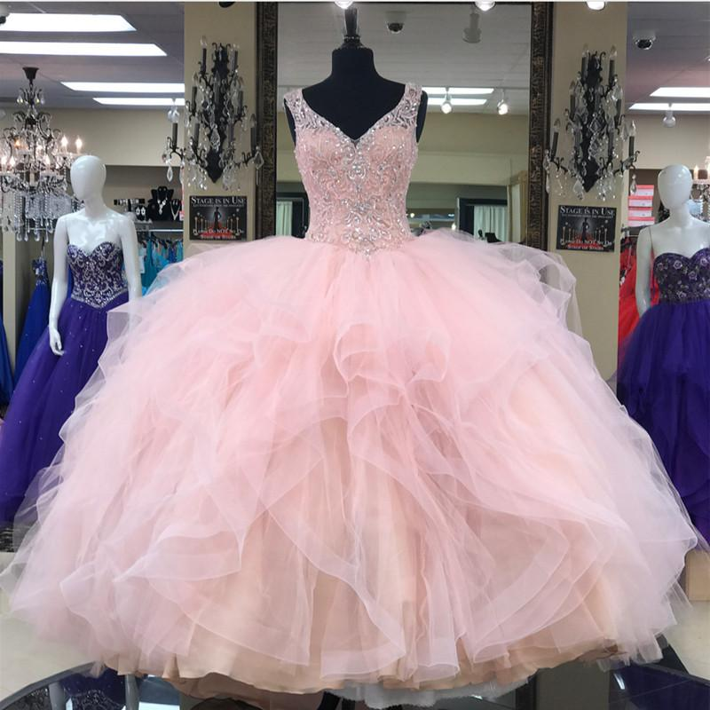Lace Beaded V Neck Organza Layered Ball Gowns Quinceanera Dresses Pink