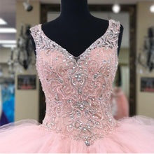 Load image into Gallery viewer, Lace Beaded V Neck Organza Layered Ball Gowns Quinceanera Dresses Pink