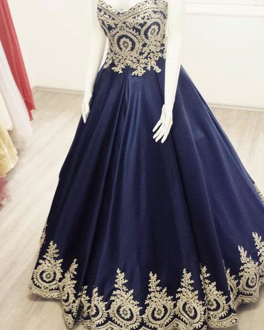 Image of quinceanera dresses blue and gold