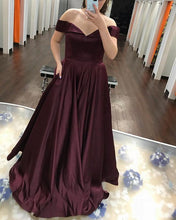 Afbeelding in Gallery-weergave laden, Long-Burgundy-Prom-Dresses-V-neck-Off-The-Shoulder-Formal-Gowns
