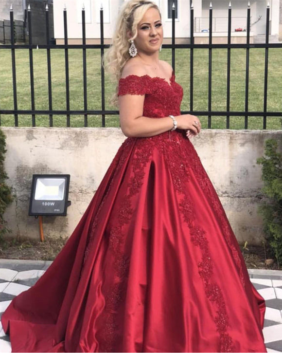 Red Lace Appliques Off Shoulder Satin Ball Gowns Wedding Dresses