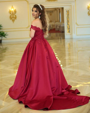 Image of Maroon-Quinceanera-Dresses-Ballgowns-Wedding-Dress-Lace-Appliques