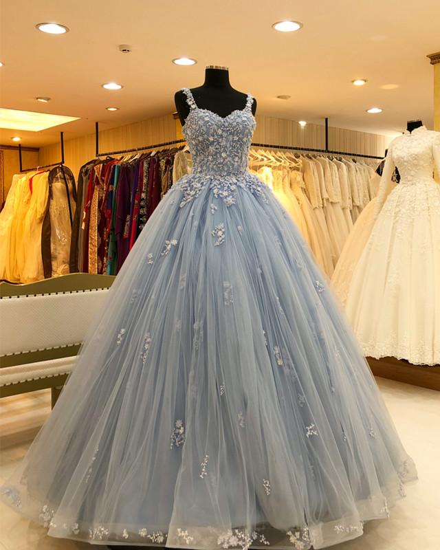 Chic Lace Beaded Sweetheart Tulle Ball Gowns Quinceanera Dresses
