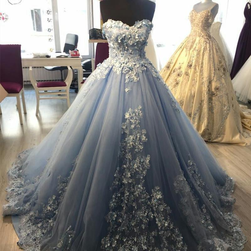 Light Blue Ball Gown Tulle Sweetheart Appliques Quinceanera Dresses
