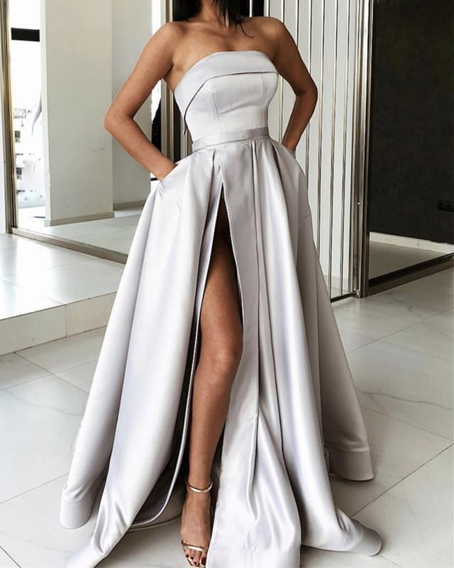 Long Satin Strapless Prom Dresses Split Evening Gowns