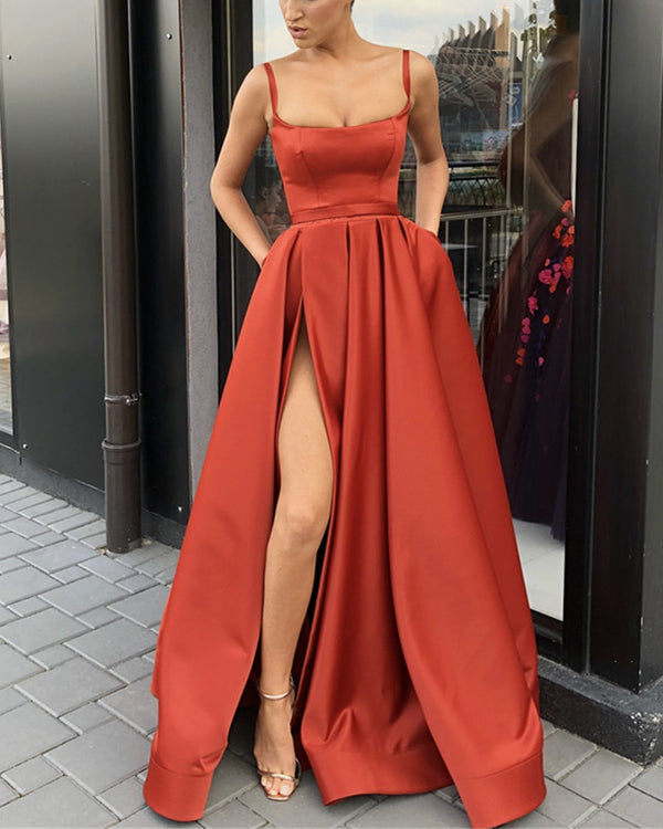Spaghetti Straps Long Satin Prom Gowns 2019