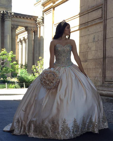 Image of Gold-Quinceanera-Dresses