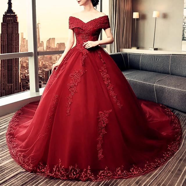 Elegant Lace Off Shoulder Royal Train Maroon Wedding Dresses 2018