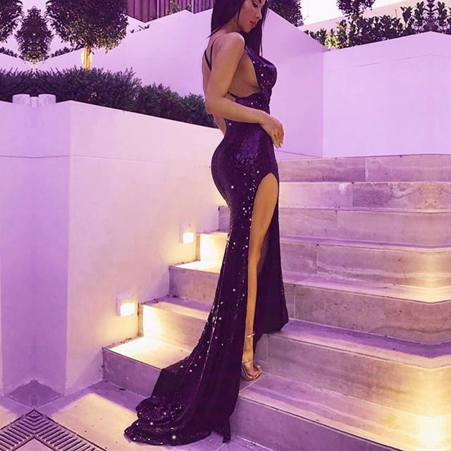 Purple-Sequin-Prom-Dresses-Mermaid-Evening-Gowns