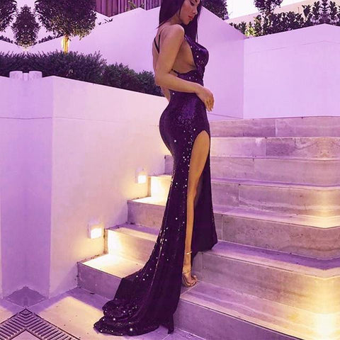Image of Purple-Sequin-Prom-Dresses-Mermaid-Evening-Gowns