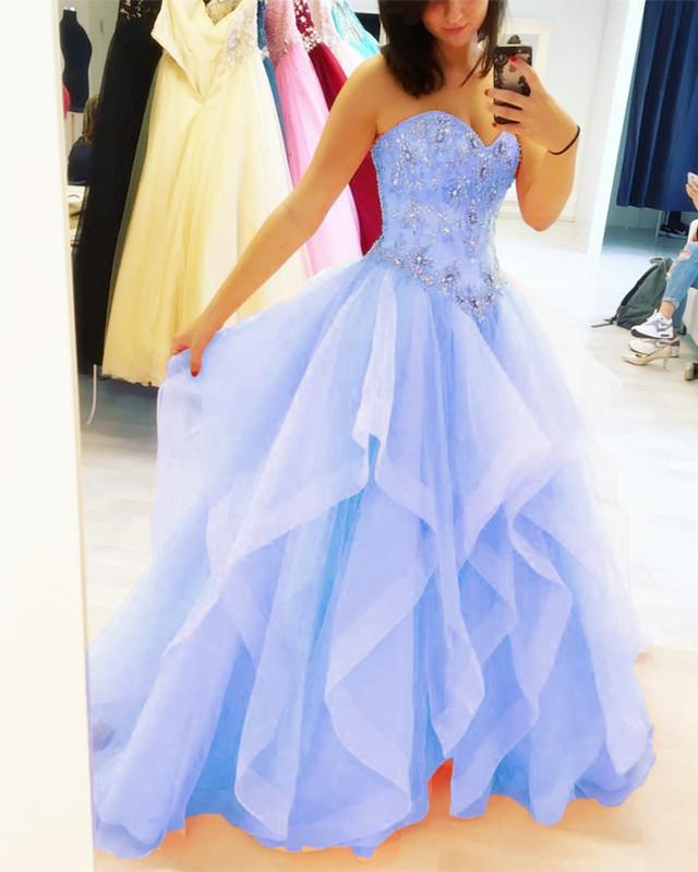 Beaded Sweetheart Organza Layered Quinceanera Dresses Ball Gowns