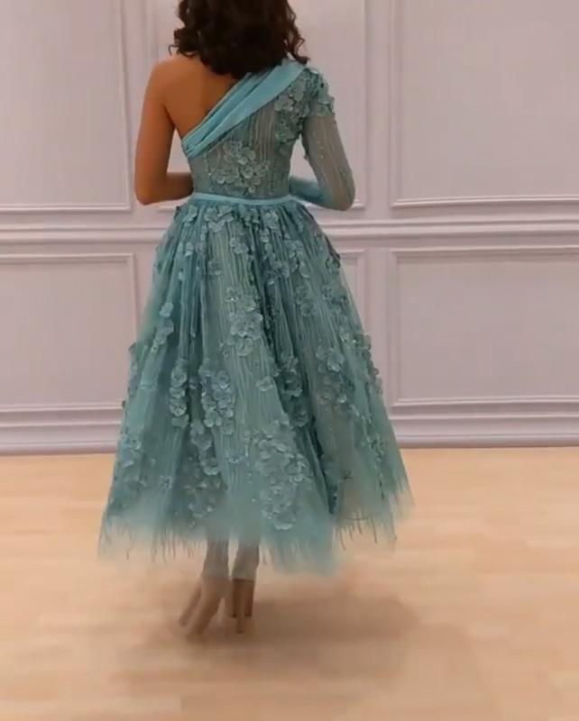 Elegant One Shoulder Mint Tulle Lace Appliques Ball Gowns Party Dress