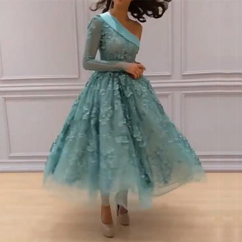 Image of Elegant One Shoulder Mint Tulle Lace Appliques Ball Gowns Party Dress