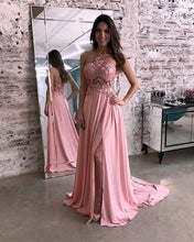 Afbeelding in Gallery-weergave laden, Lace Halter Long Chiffon Prom Dresses Leg Split