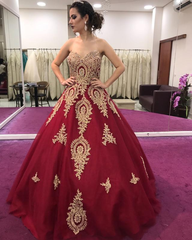 Gold Lace Appliques Sweetheart Ball Gowns Quinceanera Dresses