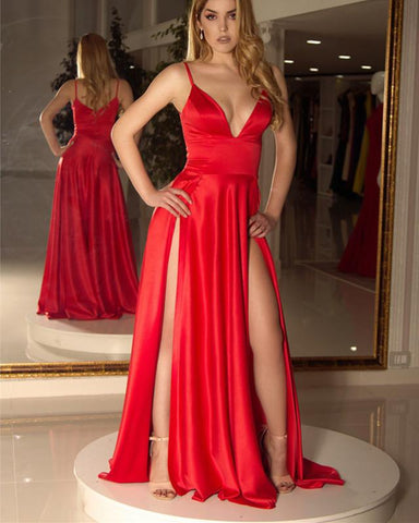 Image of Long-Red-Prom-Dresses-Cheap-Evening-Gowns