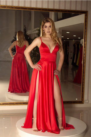 Image of Long Satin V-neck Prom Dresses Double Split Party Gowns