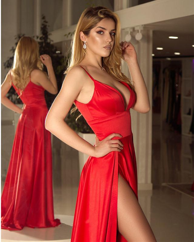Long Satin V-neck Prom Dresses Double Split Party Gowns