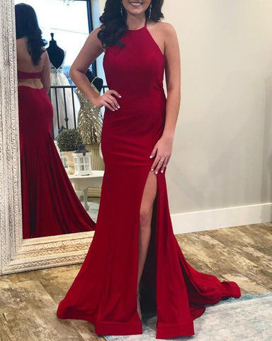 Image of Sexy Leg Slit Open Back Mermaid Prom Dresses