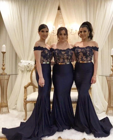Image of Lace Appliques Mermaid Bridesmaid Dresses With Gold Belt