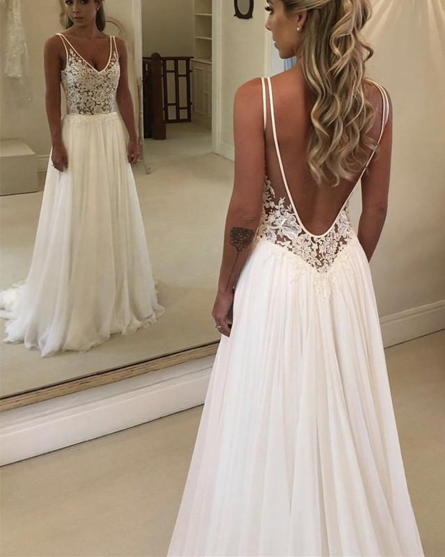 Boho Lace Bodice Chiffon V-neck Wedding Beach Dresses