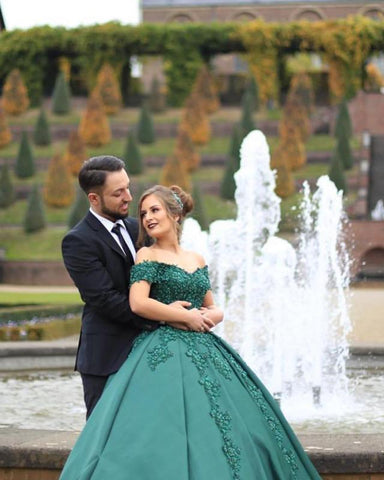 Image of Green Wedding Dresses Ball Gowns Lace Beaded Off Shoulder