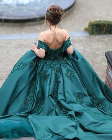 Image of Green-Wedding-Dresses-Ball-Gowns-Off-Shoulder