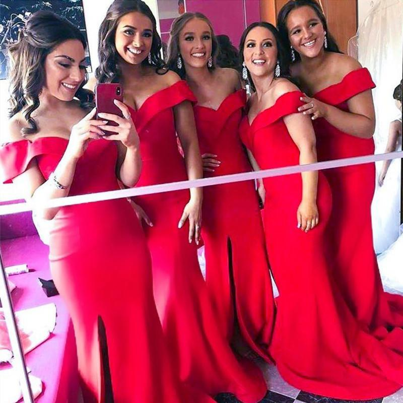 Elegant Off Shoulder Satin Mermaid Bridesmaid Dresses Leg Split