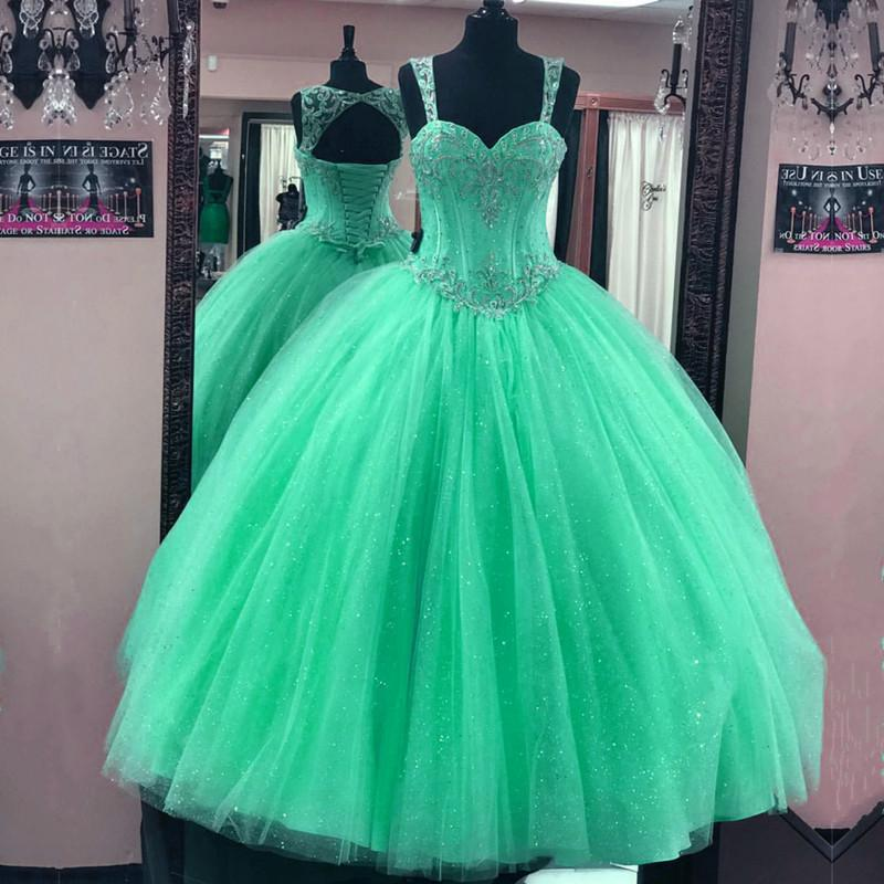 Beaded Sweetheart Tulle Ball Gowns Quinceanera Dresses