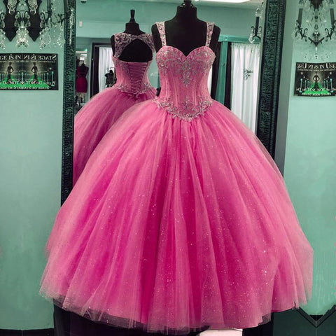 Image of Beaded Sweetheart Tulle Ball Gowns Quinceanera Dresses