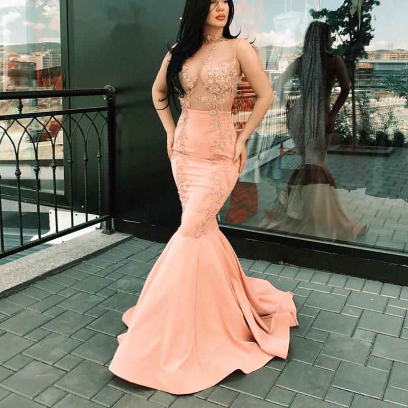 Chic Lace Appliques Nude Tulle Satin Mermaid Evening Dresses