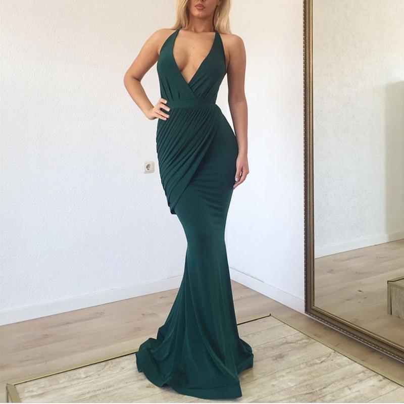 Deep V Neck Long Jersey Mermaid Evening Gown Dresses