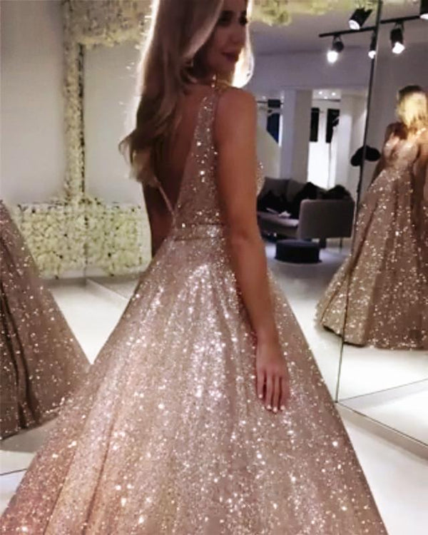 Bling Bling Sequin V-neck Ball Gowns Prom Dresses