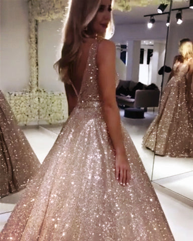 Image of Sparkle Sequin V-neck Ball Gowns Prom Quinceanera Dress