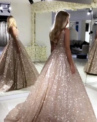 Image of Bling Bling Sequin V-neck Ball Gowns Prom Dresses