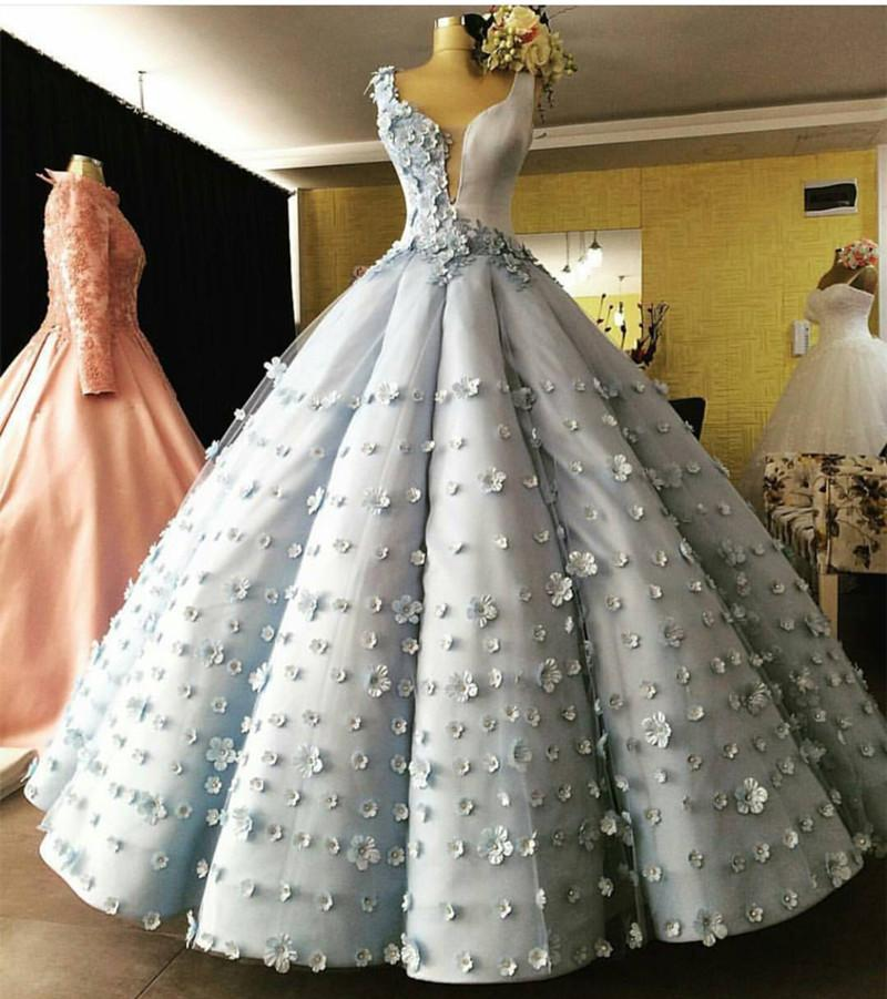 Light Blue Satin V Neck Ball Gown Flower Wedding Dresses